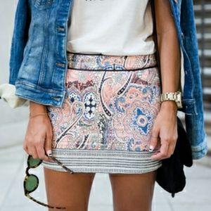 Bershka Quilted Pink Mini Skirt Size Medium